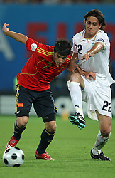 David Villa of Spain (7) vs Alberto Aquilani of Italy (22) during the UEFA EURO 2008 Quarter-Final soccer match between Spain and Italy at Ernst-Happel Stadium, on June 22,2008, in Wien, Austria. Spain won after penalty shots 4:2. (Photo by Vid Ponikvar / Sportal Images)