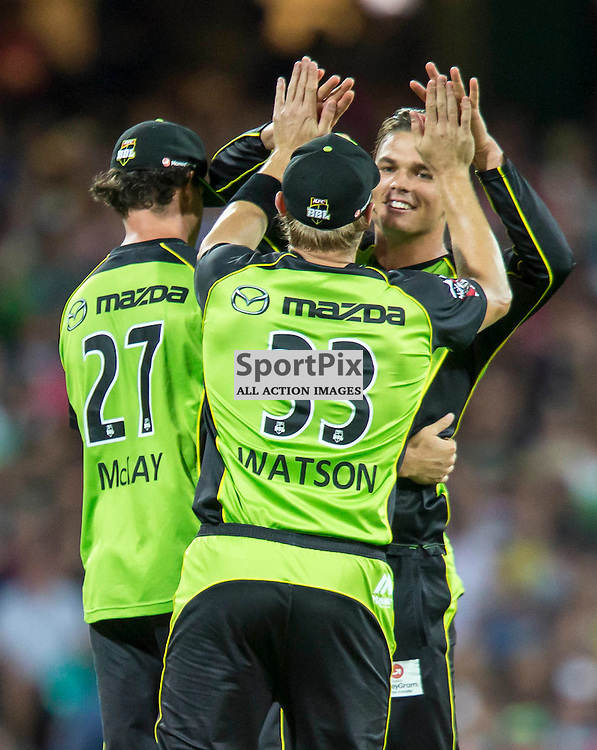 KFC Big Bash League T20 2015-16 , Sydney Sixers v Sydney Thunder, SCG; 16 January 2016<br /> Celebrates for the wicket of Sydney Sixers Brad Haddin, caught Sydney Thunder Clint McKay bowled Sydney Thunder Chris Green