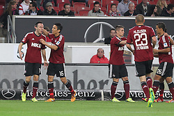 25.10.2013, Mercedes Benz Arena, Stuttgart, GEr, 1. FBL, VfB Stuttgart vs 1.FC Nuernberg, Fussball, 1.Bundesliga, 25.10.2013, 10. Runde, im Bild Links Josip Drmic ( 1 FC Nuernberg ) Rechts Makoto Hasebe ( 1 FC Nuernberg ) Jubel,Freude, Emotion nach dem 1:1 Ausgleich // during the German Bundesliga 10th round match between VfB Stuttgart and 1. FC Nuernberg at the Mercedes Benz Arena in Stuttgart, Germany on 2013/10/26. EXPA Pictures © 2013, PhotoCredit: EXPA/ Eibner-Pressefoto/ Langer<br /> <br /> *****ATTENTION - OUT of GER*****