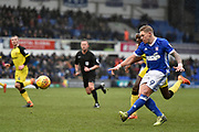 Ipswich Town striker Martyn Waghorn (9) shoots at goal during the EFL Sky Bet Championship match between Ipswich Town and Burton Albion at Portman Road, Ipswich, England on 10 February 2018. Picture by Richard Holmes.
