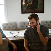 October 6, 2015 - New York, NY : Jeffrey Cranor, left, and Joseph Fink pose for a portrait in Joseph's Brooklyn office on Tuesday afternoon. Fink and Cranor are the creators of the podcast radio show 'Welcome to Night Vale'. CREDIT: Karsten Moran for The New York Times