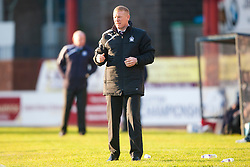Falkirk's manager Gary Holt. Dundee 1 v 1 Falkirk, Scottish Championship game at Dundee's home ground Dens Park.