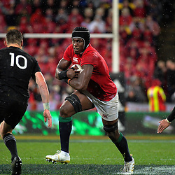 Maro Itoje in action during the 2017 DHL Lions Series 2nd test rugby match between the NZ All Blacks and British & Irish Lions at Westpac Stadium in Wellington, New Zealand on Saturday, 1 July 2017. Photo: Dave Lintott / lintottphoto.co.nz