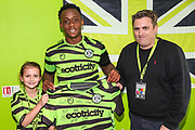 Match sponsor with man of the match Forest Green Rovers Udoka Godwin-Malife(22) during the EFL Sky Bet League 2 match between Forest Green Rovers and Grimsby Town FC at the New Lawn, Forest Green, United Kingdom on 17 August 2019.