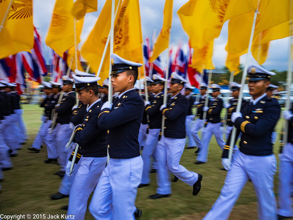 05 DECEMBER 2015 - BANGKOK, THAILAND: Royal Thai Air Force cadets participate in a parade of the King's Birthday on Sanam Luang in Bangkok. Thais marked the 88th birthday of Bhumibol Adulyadej, the King of Thailand,  Saturday. The King was born on December 5, 1927, in Cambridge, Massachusetts. The family was in the United States because his father, Prince Mahidol, was studying Public Health at Harvard University. He has reigned since 1946 and is the world's currently the longest serving monarch in the world and the longest serving monarch in Thai history. Bhumibol, who is in poor health, is revered by the Thai people. His birthday is a national holiday and is also celebrated as Father's Day. He is currently hospitalized in Siriraj Hospital, recovering from a series of health setbacks.    PHOTO BY JACK KURTZ