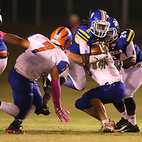 Booneville wide receiver Davian Price moves the ball against North Pontotoc in the first quarter.