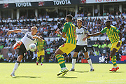 Derby County forward Martyn Waghorn (9) shoots at goal during the EFL Sky Bet Championship match between Derby County and West Bromwich Albion at the Pride Park, Derby, England on 24 August 2019.