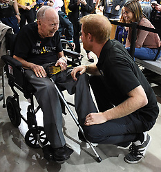 Prince Harry meets 102 year old Norm Baker, a World War Two Veteran, as he attends the Invictus Games Wheelchair Rugby finals at the Mattamy Athletic Centre, Toronto, Ontario, Canada, on the 28th September 2017. 28 Sep 2017 Pictured: Prince Harry meets 102 year old Norm Baker, a World War Two Veteran, as he attends the Invictus Games Wheelchair Rugby finals at the Mattamy Athletic Centre, Toronto, Ontario, Canada, on the 28th September 2017. Picture by James Whatling. Photo credit: James Whatling / MEGA TheMegaAgency.com +1 888 505 6342