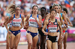 London, August 10 2017 . Eilish McColgan, Great Britain, Stephanie Twell, Great Britain, and Rina Nabeshima, Japan, in the women's 5,000m heats on day seven of the IAAF London 2017 world Championships at the London Stadium. © Paul Davey.