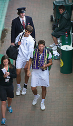 LONDON, ENGLAND - Friday, July 1, 2011: Oliver Golding (GBR) and Jiri Vesely (CZE) in action during the Boys' Doubles Quarter-Final match on day eleven of the Wimbledon Lawn Tennis Championships at the All England Lawn Tennis and Croquet Club. (Pic by David Rawcliffe/Propaganda)