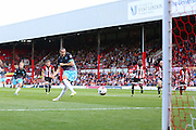 Sheffield Wednesday Forward Atdhe Nuhiu scores from the penalty spot during the Sky Bet Championship match between Brentford and Sheffield Wednesday at Griffin Park, London, England on 26 September 2015. Photo by Phil Duncan.