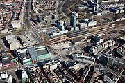 Nederland, Noord-Brabant, Eindhoven, 07-03-2010; stationsgebied in de binnenstad, Centraal Station met omgeving, met onder andere 17 en 18 Septemberplein, Vestdijk en Vestdijktunnel..Downtown area with central station and immediate environment..luchtfoto (toeslag), aerial photo (additional fee required).foto/photo Siebe Swart