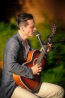 Christopher Davis-Shannon performing in the Pop Up Park in Pitman, NJ.