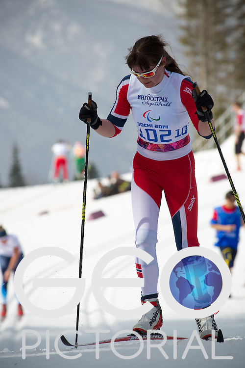 Cross-country Skiing: 2014 Sochi Winter Paralympics: Marie Karlsen of Norway competing in the women's 15km Standing Cross-Country Skiing at the Laura Cross-Country Ski and Biathlon Center, Sochi, Russia 10/03/2014;<br /> PHOTO CREDIT: &copy; George S Blonsky
