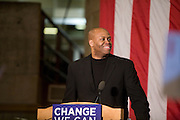 Brown basketball coach Craig Robinson introducing his sister Michelle Obama at a rally for Barack Obama, February 20, 2008..