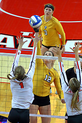 23 November 2017:  Allie Line defends an attack by Taylor Graboski in front of Katherine Carlson during a college women's volleyball match between the Valparaiso Crusaders and the Illinois State Redbirds in the Missouri Valley Conference Tournament at Redbird Arena in Normal IL (Photo by Alan Look)