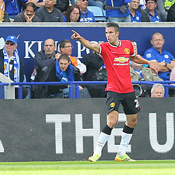 Manchester United's Robin Van Persie celebrates his goal during the Barclays Premiership match between Leicester City FC and Manchester United FC, at the King Power Stadium, Leicester, 21st September 2014 © Phil Duncan | SportPix.org.uk