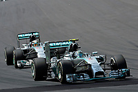 ROSBERG NICO (GER) - MERCEDES GP MGP W05 - ACTION<br /> HAMILTON LEWIS (GBR) - MERCEDES GP MGP W05 - ACTION during the 2014 Formula One World Championship, Brazil Grand Prix from November 6th to 9th 2014 in Sao Paulo, Brazil. Photo Eric Vargiolu / DPPI.