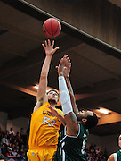 November 27, 2011; Moraga, CA, USA; San Francisco State Gators forward Max Fodor (50) shoots the ball over Saint Mary's Gaels center Kyle Rowley (right) during the first half of the Shamrock Office Solutions Classic at McKeon Pavilion.
