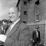 27/08/1959<br /> 08/27/1959<br /> 27 August 1959<br /> Shanahan Stamps trial at Dublin District Court. Jerome Shanahan one of the accused leaving court.