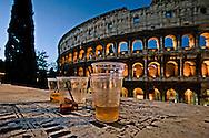 Roma 12 Maggio 2012 <br /> Bicchieri di birra lasciati davanti al Colosseo dopo una notte di movida<br /> Rome May 12, 2012<br /> Beer glasses  in front of the Colosseum after a night of nightlife