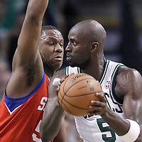 14 May 2012: Philadelphia Sixers power forward Lavoy Allen (50) defends on Boston Celtics power forward Kevin Garnett (5) during the Philadelphia Sixers 82-81 victory over the Boston Celtics, in Game 2 of the Eastern Conference semifinals playoff series, at the TD Banknorth Garden, Boston, Massachusetts, USA.