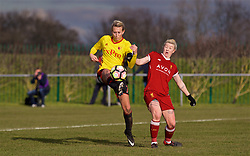 LIVERPOOL, ENGLAND - Sunday, February 4, 2018: Liverpool's Beth England and Watford's Anneka Nuttall during the Women's FA Cup 4th Round match between Liverpool FC Ladies and Watford FC Ladies at Walton Hall Park. (Pic by David Rawcliffe/Propaganda)