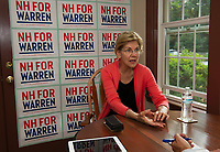"Senator Elizabeth Warren sits down with Reporter Rick Green before Wednesday night's ""house party"" in Wolfeboro.  (Karen Bobotas/for the Laconia Daily Sun)"