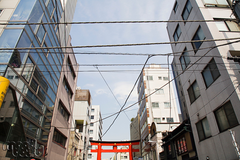 Electrical Lines and Torii Gate Between Multistory Buildings
