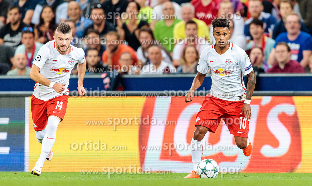 24.08.2016, Red Bull Arena, Salzburg, AUT, UEFA CL, FC Red Bull Salzburg vs Dinamo Zagreb, Play off, Rueckspiel, im Bild Valon Berisha (FC Red Bull Salzburg), Valentino Lazaro (FC Red Bull Salzburg) // during the UEFA Championsleague Play off 2nd Leg Match between FC Red Bull Salzburg and Dinamo Zagreb at the Red Bull Arena in Salzburg, Austria on 2016/08/24. EXPA Pictures © 2016, PhotoCredit: EXPA/ JFK