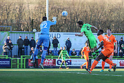 Forest Green Rovers Christian Doidge(9) challenges Braintree Town's Sam Beasant during the Vanarama National League match between Forest Green Rovers and Braintree Town at the New Lawn, Forest Green, United Kingdom on 21 January 2017. Photo by Shane Healey.