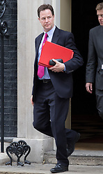 Image ©Licensed to i-Images Picture Agency. 08/07/2014. London, United Kingdom. Cabinet meeting departures. Nick Clegg leaves No10 after cabinet meeting this morning. 10 Downing Street. Picture by Daniel Leal-Olivas / i-Images