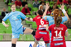 Ana Gros of Slovenia during handball match between Women National Teams of Slovenia and Czech Republic of 4th Round of EURO 2012 Qualifications, on March 25, 2012, in Arena Stozice, Ljubljana, Slovenia. (Photo by Urban Urbanc / Sportida.com)