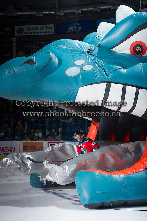 KELOWNA, CANADA - DECEMBER 8:  Myles Bell #29 of the Kelowna Rockets enters the ice against the Prince George Cougars at the Kelowna Rockets on December 8, 2012 at Prospera Place in Kelowna, British Columbia, Canada (Photo by Marissa Baecker/Shoot the Breeze) *** Local Caption ***