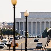 Traffic on Memorial Bridge with the Lincoln Memorial in the background.
