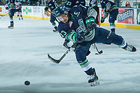 KELOWNA, CANADA - APRIL 25: Mathew Barzal #13 of the Seattle Thunderbirds warms up with a shot on net against the Kelowna Rockets on April 25, 2017 at Prospera Place in Kelowna, British Columbia, Canada.  (Photo by Marissa Baecker/Shoot the Breeze)  *** Local Caption ***