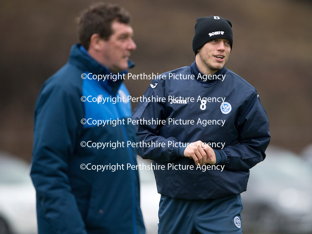 St Johnstone Training…18.12.15<br />Murray Davidson pictured in training this morning with Manager Tommy Wright at McDiarmid Park ahead of tomorrow's game against Hearts<br />Picture by Graeme Hart.<br />Copyright Perthshire Picture Agency<br />Tel: 01738 623350  Mobile: 07990 594431