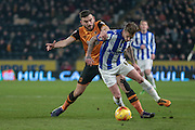 Joe Bennett (Sheffield Wednesday) and Robert Snodgrass (Hull City)during the Sky Bet Championship match between Hull City and Sheffield Wednesday at the KC Stadium, Kingston upon Hull, England on 26 February 2016. Photo by Mark P Doherty.