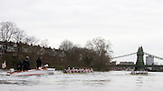 Putney, GREAT BRITAIN,   Cambridge [right] lead Leander as both crews approach Hammersmith Bridge during the 2009 Pre Boat Race Fixture,  Cambridge [CUBC] vs Leander Club, raced over part of the 'Championship Course' Putney to Mortlake, on the River Thames, Fri. 13.03.2009. [Mandatory Credit, Peter Spurrier / Intersport-images