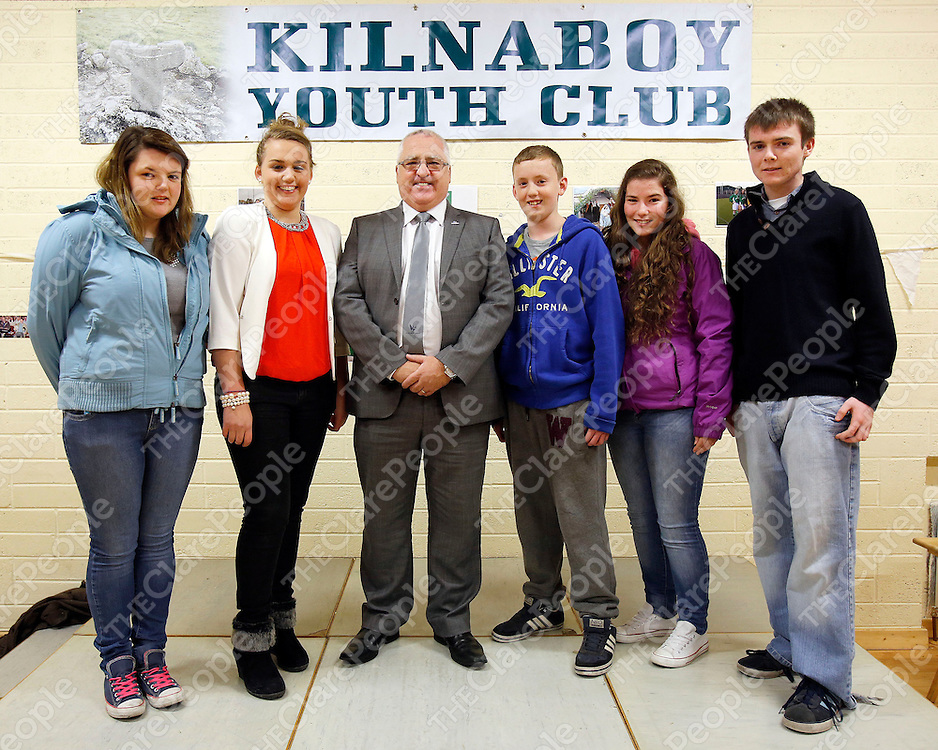 29/11/2013<br /> Patrick Burke, CEO Youth Work Ireland (centre) pictured with members of the Kilnaboy Youth Club Junior Committee, Chloe Keane, Aoife Forde, Sean Meehan, Aisling Keane and Eoin Keane at Kilnaboy Youth Club who were awarded youth club of the year.<br /> Picture: Don Moloney / Press 22