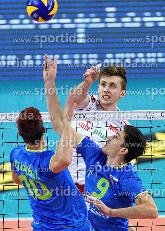 Dejan Vincic #9, Mateusz Bieniek #9, Jan Kozamernik #10 during volleyball match between National teams of Poland and Slovenia in Quarterfinals of 2015 CEV Volleyball European Championship - Men, on October 14, 2015 in Arena Armeec, Sofia, Bulgaria. Photo by Ronald Hoogendoorn / Sportida