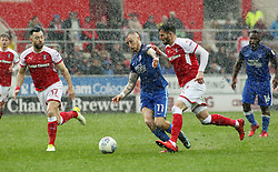 Marcus Maddison of Peterborough United in action with Richie Towell and Anthony Forde of Rotherham United - Mandatory by-line: Joe Dent/JMP - 30/03/2018 - FOOTBALL - Aesseal New York Stadium - Rotherham, England - Rotherham United v Peterborough United - Sky Bet League One