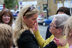 © Licensed to London News Pictures. 16/06/2017. Birstall, UK. Jo Cox's sister Kim Leadbeater talks to members of the community in Birstall town square where the Labour MP was murdered a year ago today. Events are planned to take place across the country this weekend in memory of Jo Cox in what is being called 'The Great Get Together'. Credit: Ian Hinchliffe Photo credit : Ian Hinchliffe/LNP