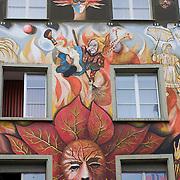 Colorful facade of Restaurant Fritschi in Sternenplatz, Old Town, Luzern, Switzerland<br />