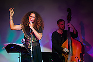 Tunisian singer Ghalia Benali sings during her performance in the London African Music Festival 2014 at The Tabernacle. London, Sep. 23, 2014 (Photos/Ivan Gonzalez)