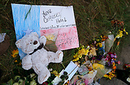 A Teddy bear is left at a memorial at the site of the shooting at the First Baptist Church of Sutherland Springs, Texas, U.S., November 7, 2017.  REUTERS/Rick Wilking
