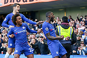 GOAL - Chelsea Defender Antonio Rudiger celebrates with Chelsea Midfielder Willian and Chelsea Forward ¡lvaro Morata during the Premier League match between Chelsea and Manchester United at Stamford Bridge, London, England on 20 October 2018.