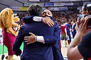 Gianmarco Pozzecco, Stefano Sardara<br /> Umana Reyer Venezia - Banco di Sardegna Dinamo Sassari<br /> Legabasket LBA Serie A Postemobile 2018-2019 Finale Playoff Gara 7<br /> Sassari, 22/06/2019<br /> Foto L.Canu - Ciamillo-Castoria