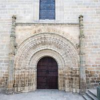 Entrance of Santa Maria la Mayor de la Asuncion church, Brozas, Caceres, Spain
