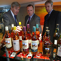Mike Watson MSP Minister for Tourism who unveiled the giant copper grouse at The Famous Grouse Experience in Crieff to officially open the new visitor centre, also pictured Edrington Group Chairman and Chief Exec Ian Good (left) and Derek Brown, Director of TFGE<br />